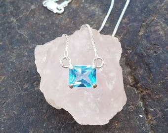 Silver swiss blue topaz necklace
