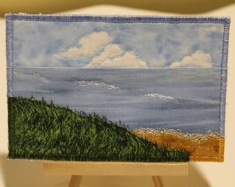 Seascape Textile Postcard. Thread Painted, Fabric.