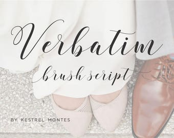 Calligraphy Font by Kestrel Montes, Verbatim Modern Brush Calligraphy Wedding Font, Web Font, Digital Font Download, Wedding Invitation Font