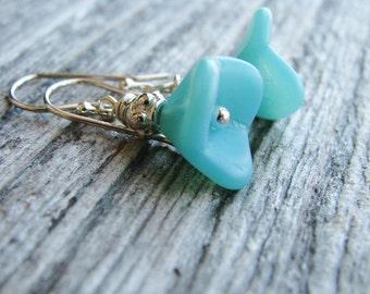Blue Czech Flower Earrings Sky Blue Czech Glass Sterling Silver Botanical Jewelry