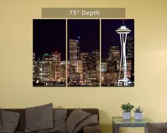 "Seattle Skyline | Space Needle - 3 Canvas Split (.75"" Depth)"
