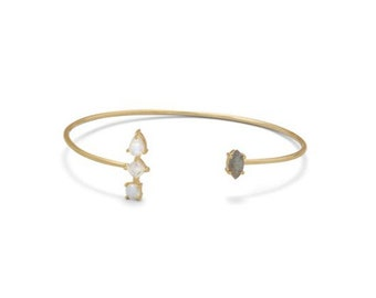 14 Karat Gold Plated Moonstone & Labradorite Bangle