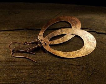Boho Earrings, Copper Earrings, Metal Earrings, Rustic Earrings, Teardrop Earrings, Long Earrings, Southwestern, 3 1/4 inches