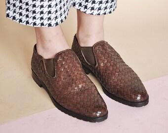 90s WOVEN flats MINIMAL shoes woven shoes MOD shoes leather shoes leather  flats boho shoes boho