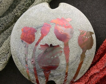 "Handmade Lampwork Glass Bead ""Poppy Seedheads"" SRA Sandblasted Focal Bead ~ Iridescent Lustre Picture Bead ~ Meadow Shades"