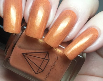 Jiminie - a metallic peach  BTS inspired UK handmade indie nail polish with bronze flakies