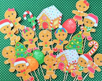 Christmas cupcake toppers, 21 gingerbread man cupcake toppers, gingerbread man toppers, Santa cupcake toppers, Christmas cupcake toppers