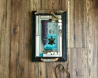 Turtle, Assemblage Art, Altered Art, 3D Collage, Turquoise, Nature, Mixed Media Art