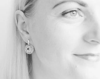Black Spinel Drop Earrings. Silver Circle Filigree Earrings. Gemstone Jewellery. Wire Crochet Jewellery. Made to Order.