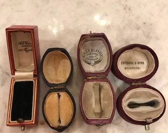 Antique ring boxes lot