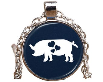 Pig Pendant Necklace - This Adorable Pig Necklace Will Turn Heads! - Cute Pig Lover Jewelry Gift - Great Pig Valentine Necklace Idea