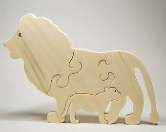 Wooden Puzzle, Wood Lion, Lion Puzzle, Lion Toy, Personalized Toy, Personalized Puzzle, Wooden Puzzle for Toddlers