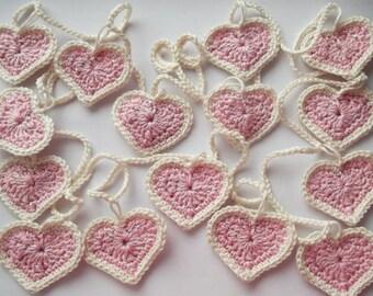 Heart garland, crochet heart garland, heart decoration, decoration, nursery decoration, heart bunting, pink heart garland