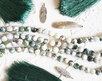 Tree agate 8mm beads for jewelry making, 8mm agate beads, Meditation beads, Green beads, White beads, Gemstone beads 8mm, Beads for bracelet