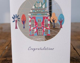 New Home Greeting Card - luxury laser cut-out -made in England