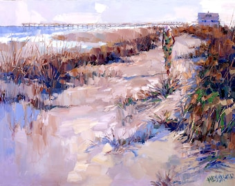 Beach Painting   Giclee Print of Palette Knife Painting   Beach art   Beach Print of Oil Painting