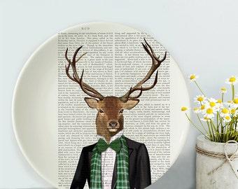 Bone china plate Deer Evening Suit Deer plate decorative plate unusual gift dinner plate gift for Deer lover wall plate unusual tableware