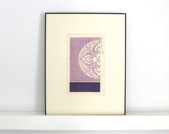 1901 Antique Japanese Woodblock Print Framed Lavender Kimono Design 11 x 14 inches