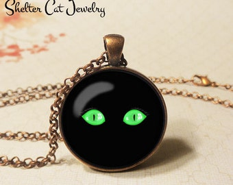 "Green Eyed Cat Necklace - 1-1/4"" Circle Pendant or Key Ring - Wearable Art Photo - Halloween Costume Trick Or Treat Spooky Holiday Gift"
