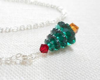 Christmas Tree Necklace, Swarovski Crystal Jewelry, Sterling Silver Chain, Emerald Green & Red Crystal Pendant, Holiday Jewelry Gift for Her