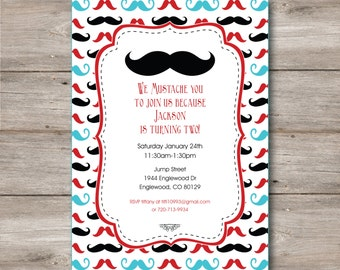 Mustache Birthday Invitation Number 1 Birthday Number One