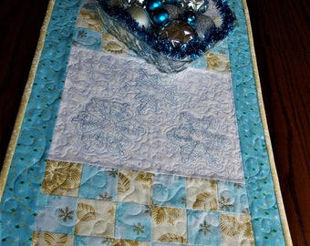 Snow Flakes Embroidered Christmas quilted tablerunner, Christmas table decor, blue white and gold Christmas runner