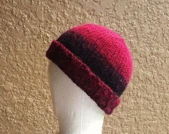 Stocking cap, watch cap, longshoremans hat, beanie, skull cap, buffalo plaid, black, red. Hand knit with 2 stitch ribbed brim.  Lumberjack.