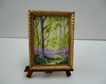 A Tiny one 24th scale Original Miniature Painting, Bunnies in the wood.With bluebells!