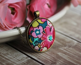Colorful Tropical Necklace With Floral Fabric, Pink and Teal Boho Flower Pendant, Cute, Eclectic