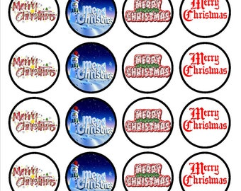Christmas #2 Edible Wafer Rice Paper Cake Cupcake Toppers x 24