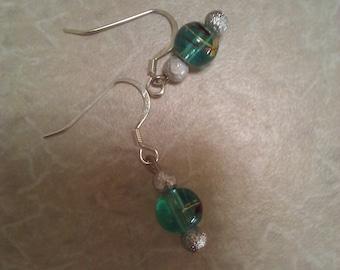 Cute Green Glass Earrings