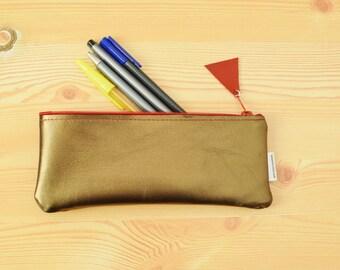 Trousse en cuir, cuir pencilcase, pochette en cuir, cuir doré, étui à crayon doré, étui en cuir, porte monnaie en cuir, étui à crayon or
