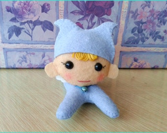 Little blue elf hand stitched wool felt