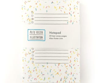 Confetti notepad - confetti notes confetti stationery confetti notepad party stationery illustrated notepad illustrated to do list