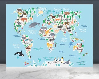Kids world map etsy animal world map printworld map posterworld map paintingkids world map nursery decor world mapbaby wall artkids decoranimal gumiabroncs Gallery