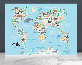 Kids world map etsy animal world map printworld map posterworld map paintingkids world map nursery decor world mapbaby wall artkids decoranimal gumiabroncs Image collections