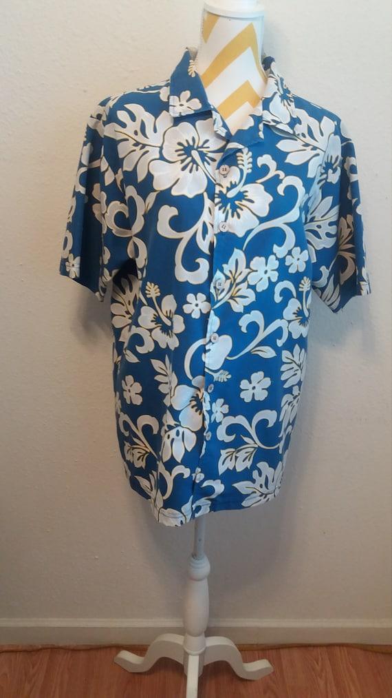 Bullhead Island Series Vintage Dark Green Orange Flowers Men's Hawaiian Shirt. Size L xH0fZw