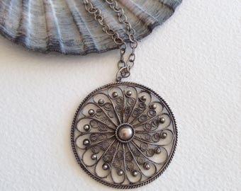 Vintage bohemian filigree pendant necklace - bohemian jewellery