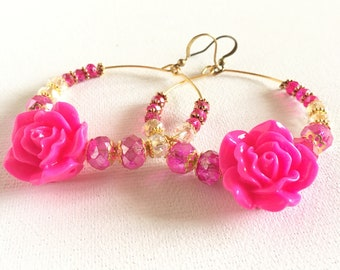 Dangling circle Earrings - Earrings - Fuchsia Pink - Crystals jewelry - pastel colors - spring time