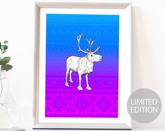 Reindeer Limited Edition (/12) Signed & Numbered Fine Art Giclee Print