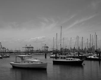 Williamstown - Black and White, Boats, Sails, Melbourne, Australia, Fine Art Photography, Bayside