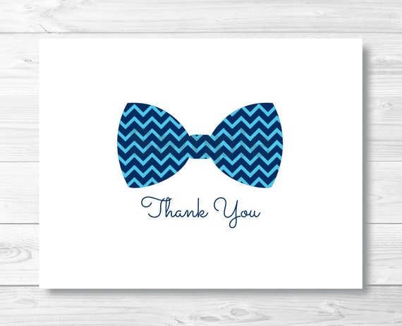 Bow Tie Thank You Card / Chevron Bow Tie / Little Man Baby