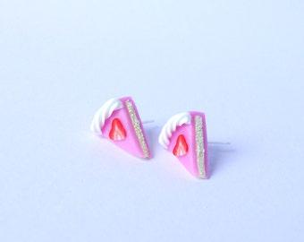 Miniature strawberry pink cake ear studs stud earrings miniature sweet food cake post earrings kawaii