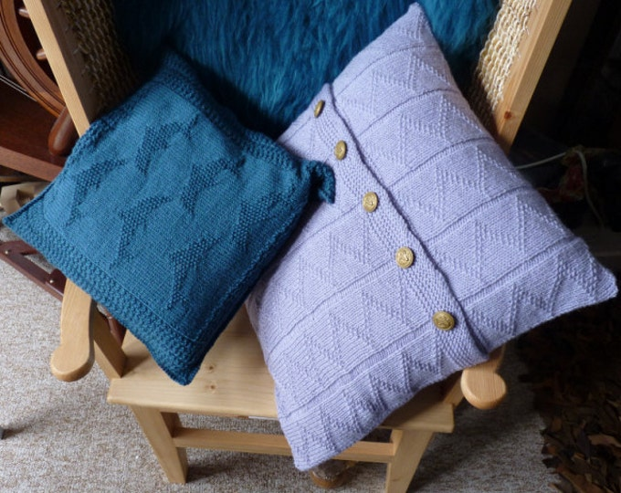 pdf pattern for Dolphin Pillows by Elizabeth Lovick in 5 ply Frangipani Wool - instant download