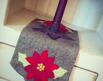 Christmas poinsettia small runner penny rug candle mat handmade