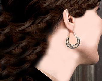 Tribal Silver Hoop Earring- Bohemian jewelry- Crescent Earring-Hippie- Filigree Earring- Gypsy Jewelry - Hoop Earrings Tribal Kuchi Jewelry
