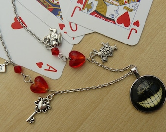 Alice in Wonderland Necklace We're all Mad Here Cheshire Cat