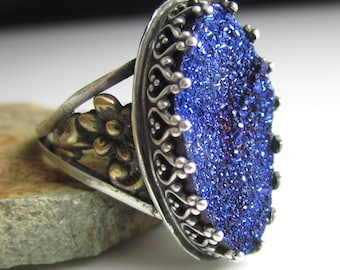 Blue Glitter Ring - Sterling Silver, Brass Flowers with Blue Titanium Druzy