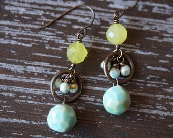 Unlisted - Ceramic Charm Earrings - Faceted Ceramic Ball Earrings - Pale Turquoise - Light Turquoise and Olive - Jade - Bead Soup Jewelry