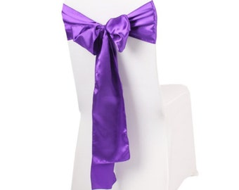 Purple Satin Chair Sashes Bows Ties Church Wedding Engagement Reception Ceremony Function Bouquet Christening Baptism Party Decoration
